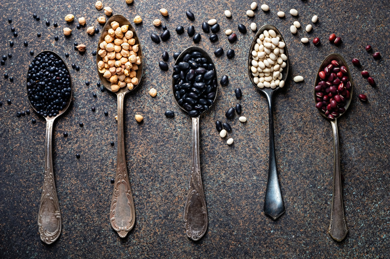 Adzuki, white and black beans, chickpeas and beluga lentils