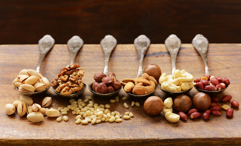 various kinds of nuts (cedar, cashew, hazelnuts, walnuts)